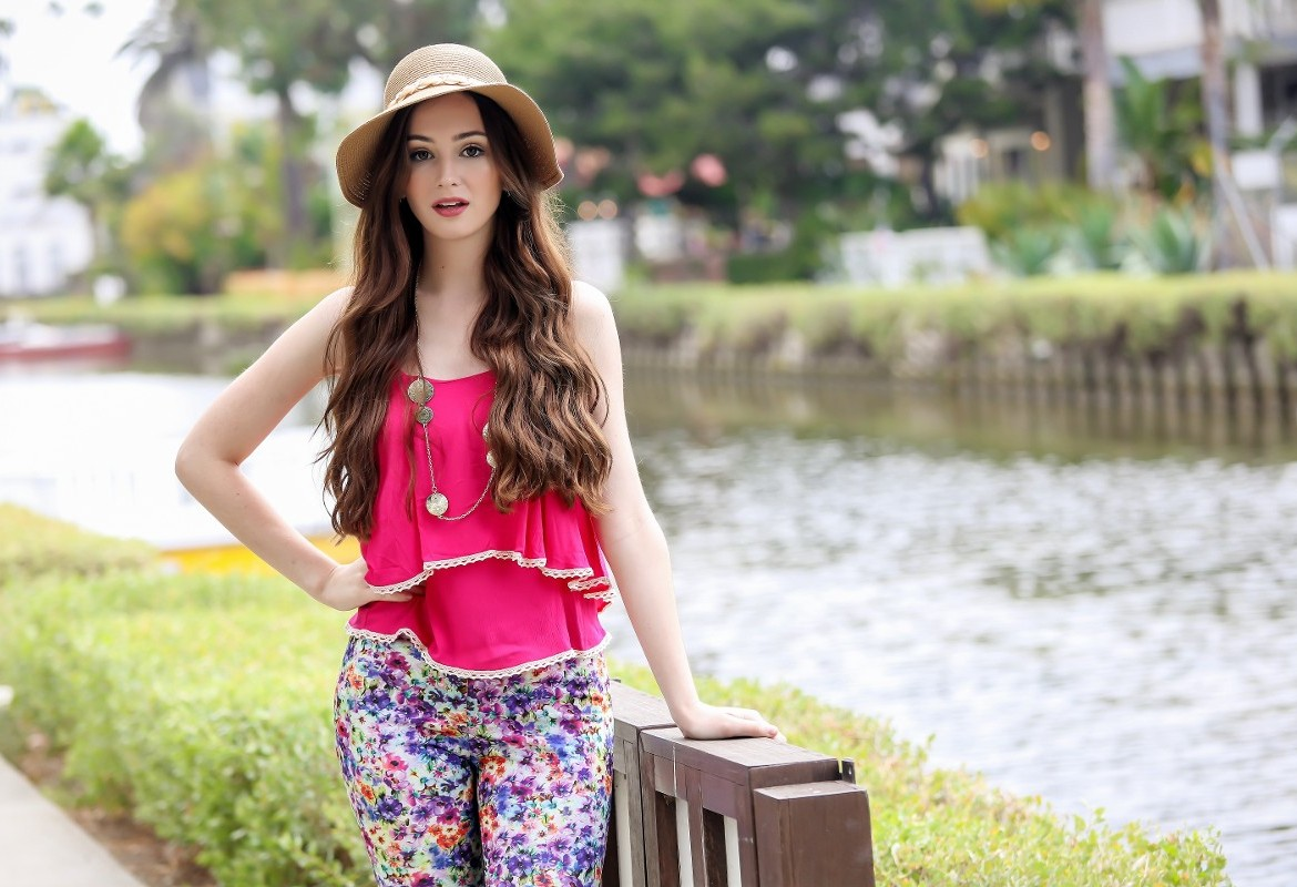 Model in Pink Top Near River